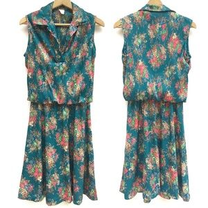Vintage 70s Floral Pleated Blouson A Line Dress